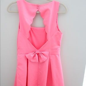 Just Me Pink Scalloped Dress with Bow Small